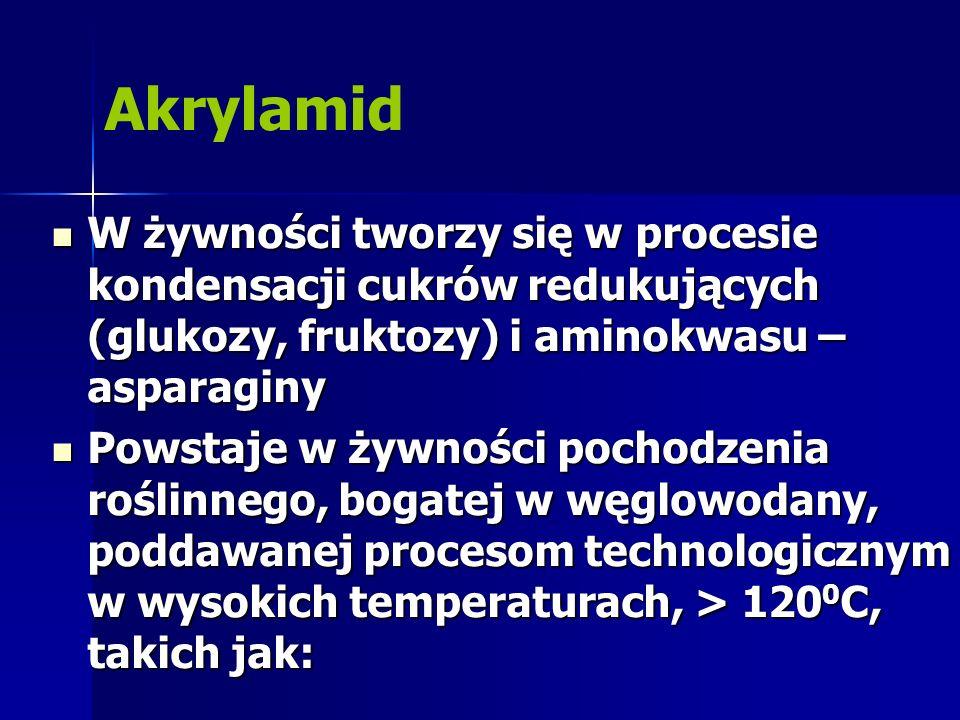 Akrylamid W żywności tworzy się w procesie kondensacji cukrów redukujących (glukozy, fruktozy) i aminokwasu – asparaginy.