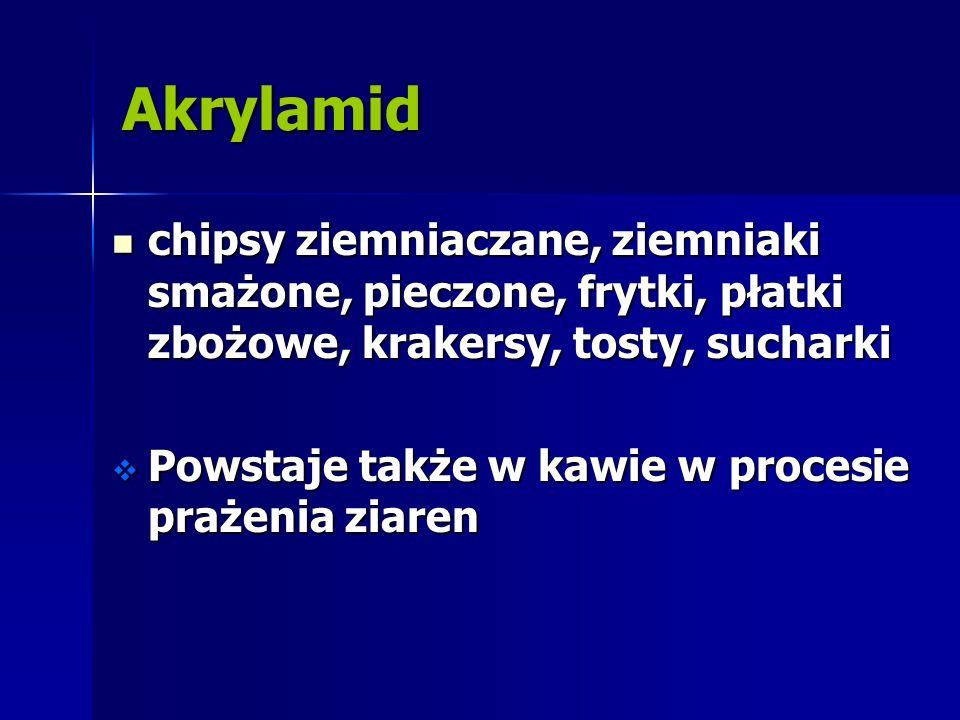 Akrylamid chipsy ziemniaczane, ziemniaki smażone, pieczone, frytki, płatki zbożowe, krakersy, tosty, sucharki.