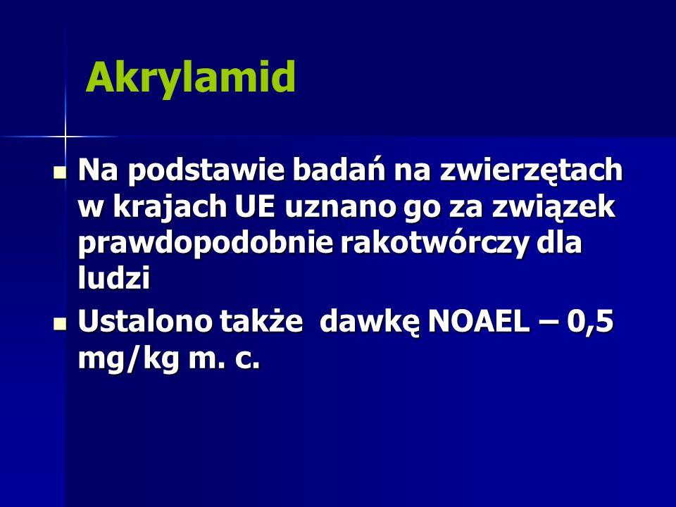 Akrylamid Na podstawie badań na zwierzętach w krajach UE uznano go za związek prawdopodobnie rakotwórczy dla ludzi.