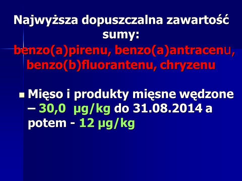 Najwyższa dopuszczalna zawartość sumy: benzo(a)pirenu, benzo(a)antracenu, benzo(b)fluorantenu, chryzenu