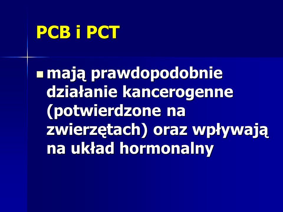 PCB i PCT mają prawdopodobnie działanie kancerogenne (potwierdzone na zwierzętach) oraz wpływają na układ hormonalny.