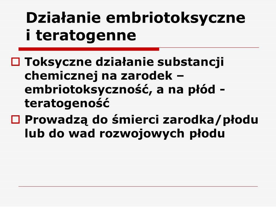 Działanie embriotoksyczne i teratogenne