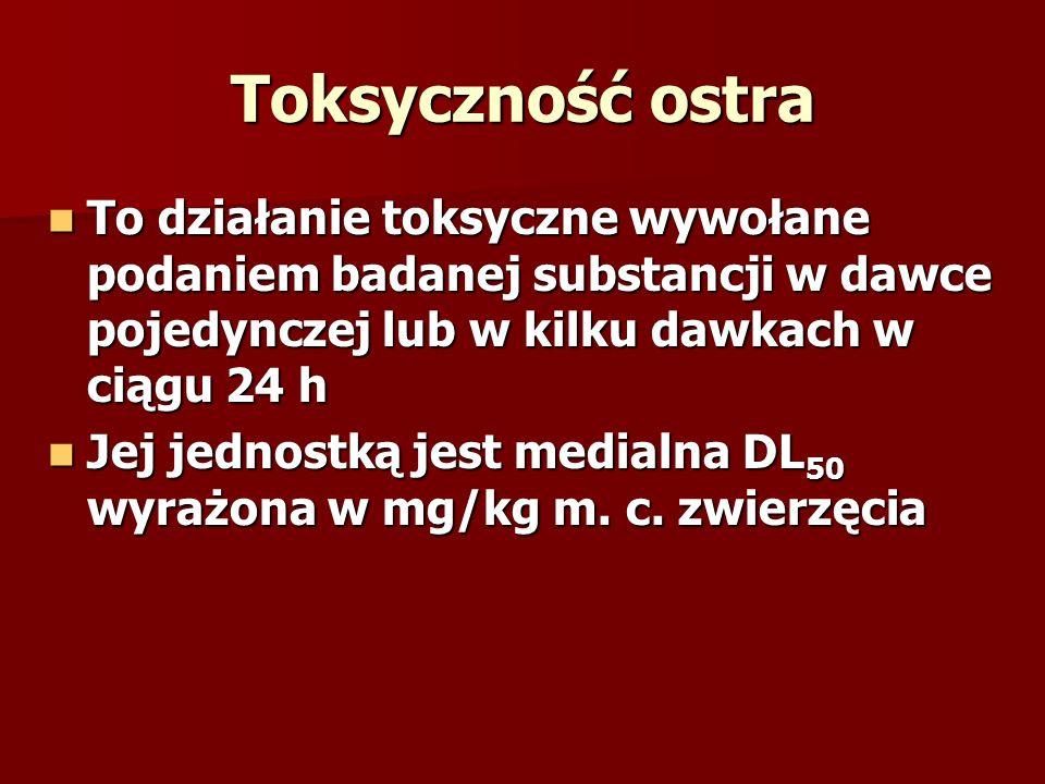 Toksyczność ostra To działanie toksyczne wywołane podaniem badanej substancji w dawce pojedynczej lub w kilku dawkach w ciągu 24 h.