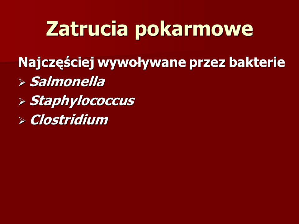 Zatrucia pokarmowe Najczęściej wywoływane przez bakterie Salmonella
