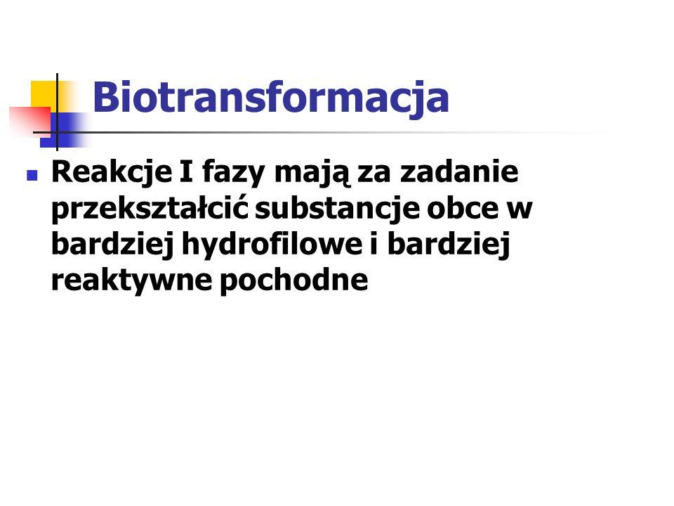 Biotransformacja Reakcje I fazy mają za zadanie przekształcić substancje obce w bardziej hydrofilowe i bardziej reaktywne pochodne.