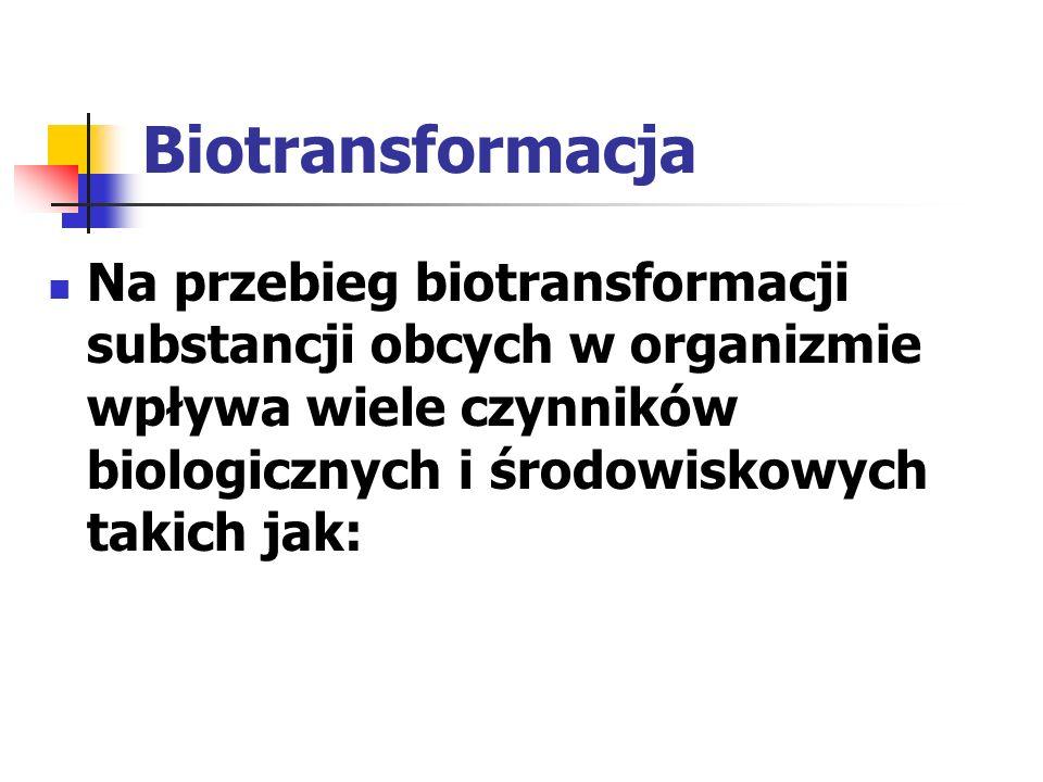 Biotransformacja Na przebieg biotransformacji substancji obcych w organizmie wpływa wiele czynników biologicznych i środowiskowych takich jak:
