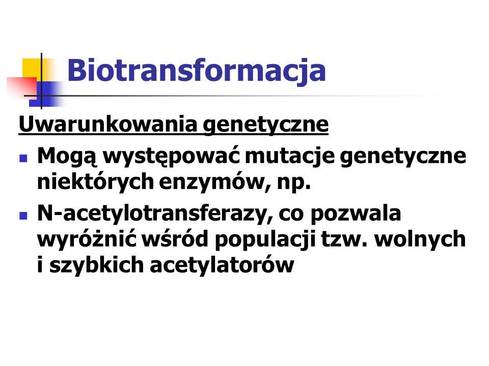 Biotransformacja Uwarunkowania genetyczne