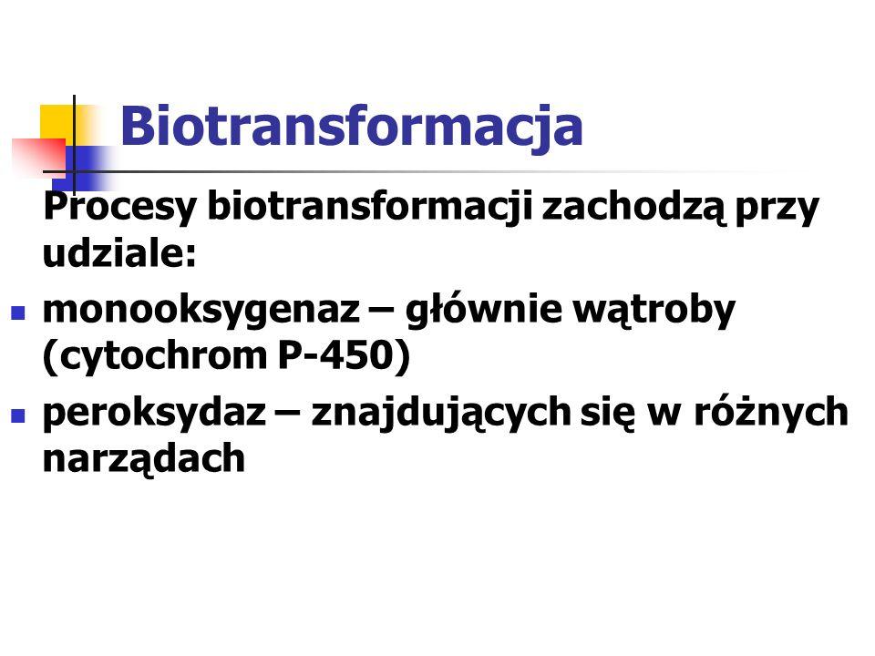 Biotransformacja Procesy biotransformacji zachodzą przy udziale: