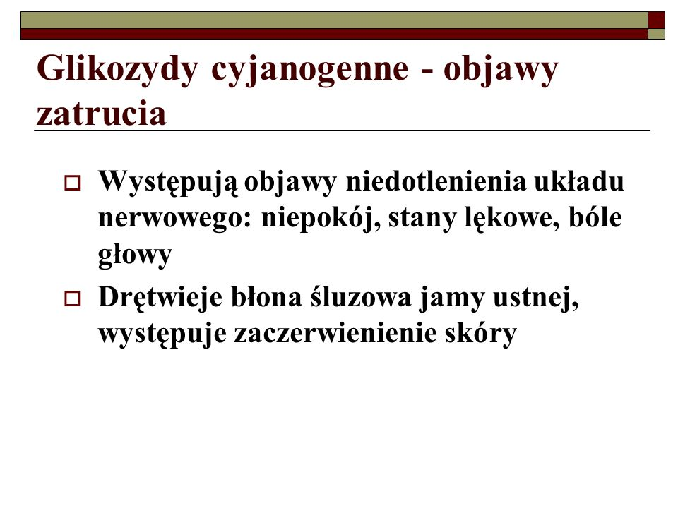 Glikozydy cyjanogenne - objawy zatrucia