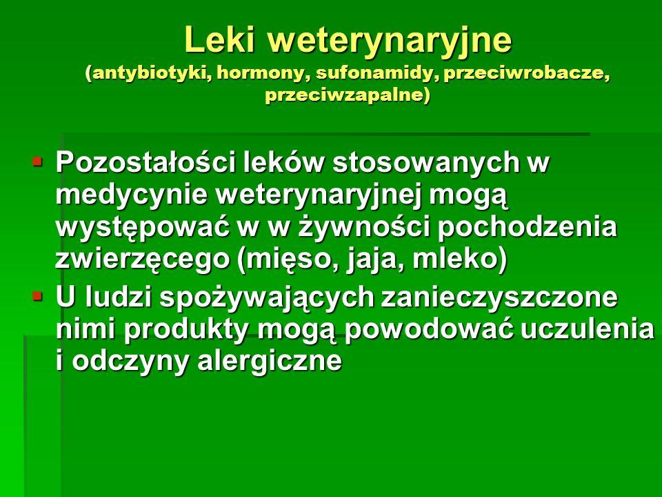 Leki weterynaryjne (antybiotyki, hormony, sufonamidy, przeciwrobacze, przeciwzapalne)