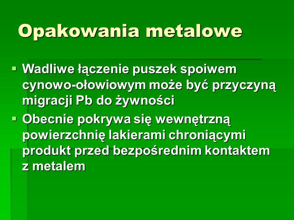 Opakowania metaloweWadliwe łączenie puszek spoiwem cynowo-ołowiowym może być przyczyną migracji Pb do żywności.