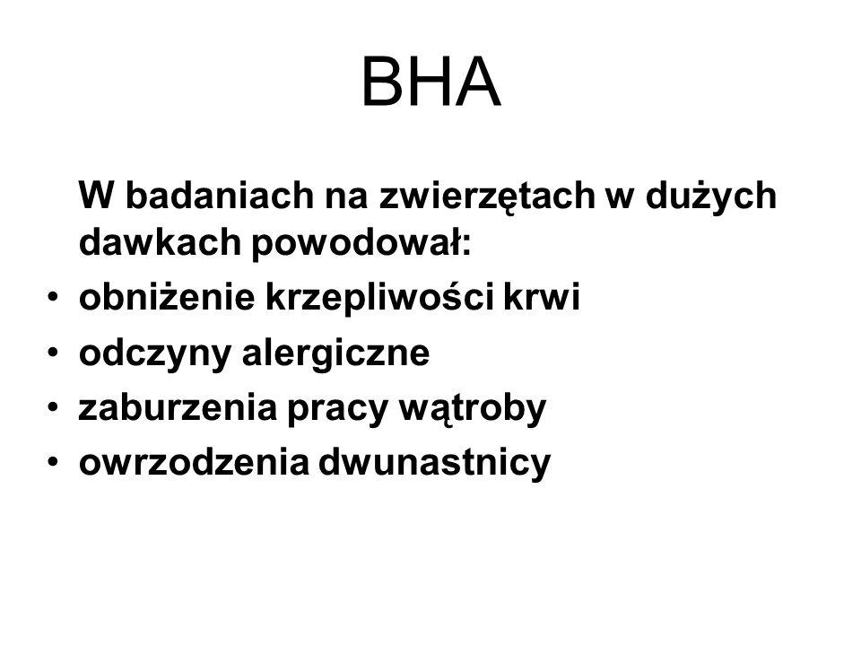 BHA W badaniach na zwierzętach w dużych dawkach powodował: