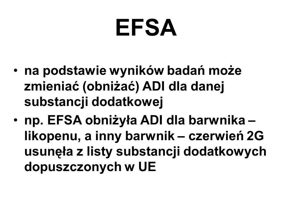 EFSA na podstawie wyników badań może zmieniać (obniżać) ADI dla danej substancji dodatkowej.