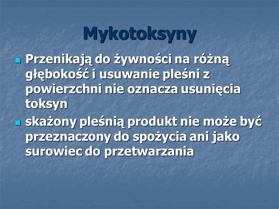 Mykotoksyny Przenikają do żywności na różną głębokość i usuwanie pleśni z powierzchni nie oznacza usunięcia toksyn.