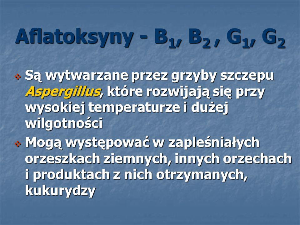 Aflatoksyny - B1, B2 , G1, G2 Są wytwarzane przez grzyby szczepu Aspergillus, które rozwijają się przy wysokiej temperaturze i dużej wilgotności.