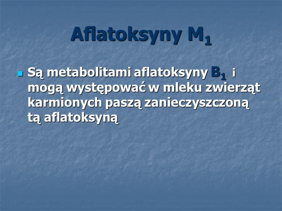 Aflatoksyny M1 Są metabolitami aflatoksyny B1 i mogą występować w mleku zwierząt karmionych paszą zanieczyszczoną tą aflatoksyną.