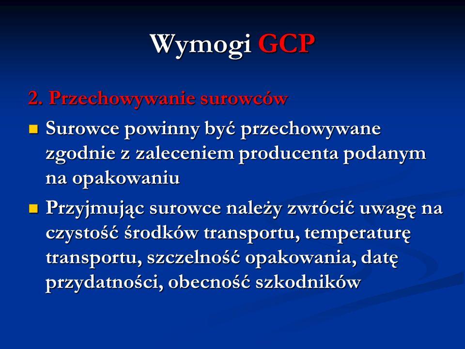 Wymogi GCP 2. Przechowywanie surowców