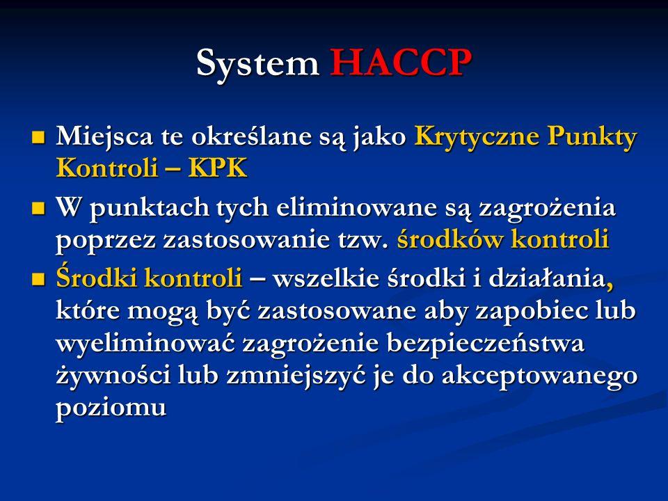 System HACCP Miejsca te określane są jako Krytyczne Punkty Kontroli – KPK.