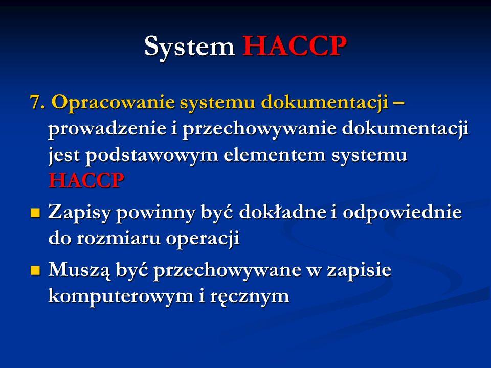 System HACCP 7. Opracowanie systemu dokumentacji – prowadzenie i przechowywanie dokumentacji jest podstawowym elementem systemu HACCP.