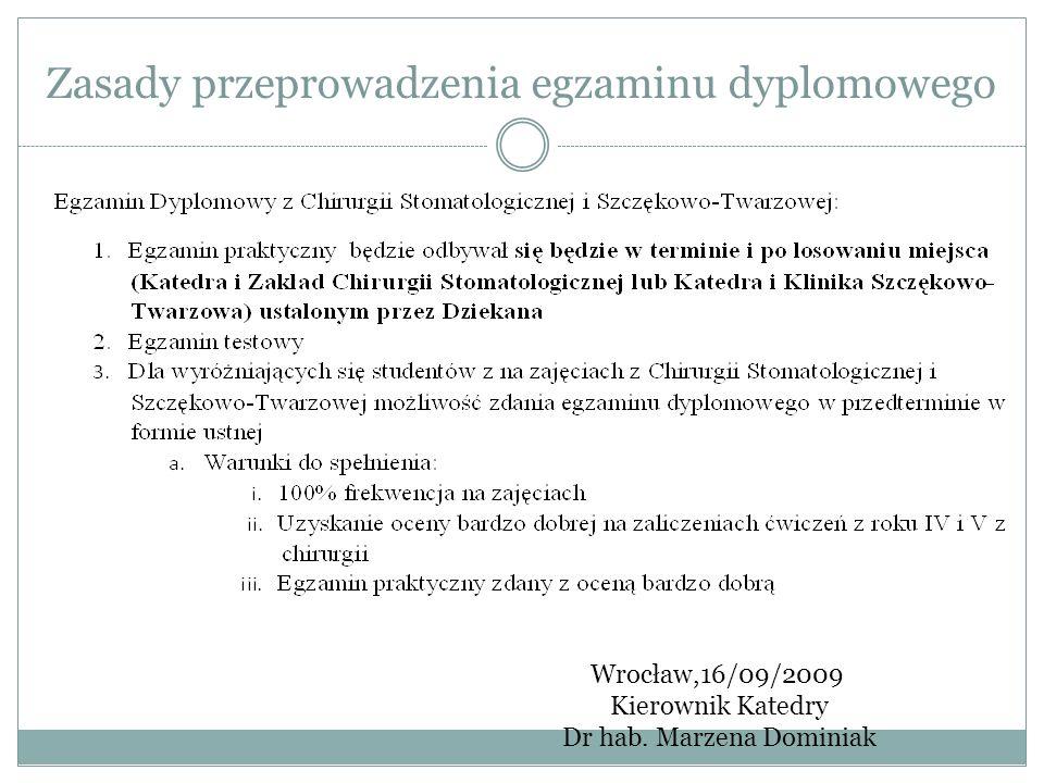 Zasady przeprowadzenia egzaminu dyplomowego