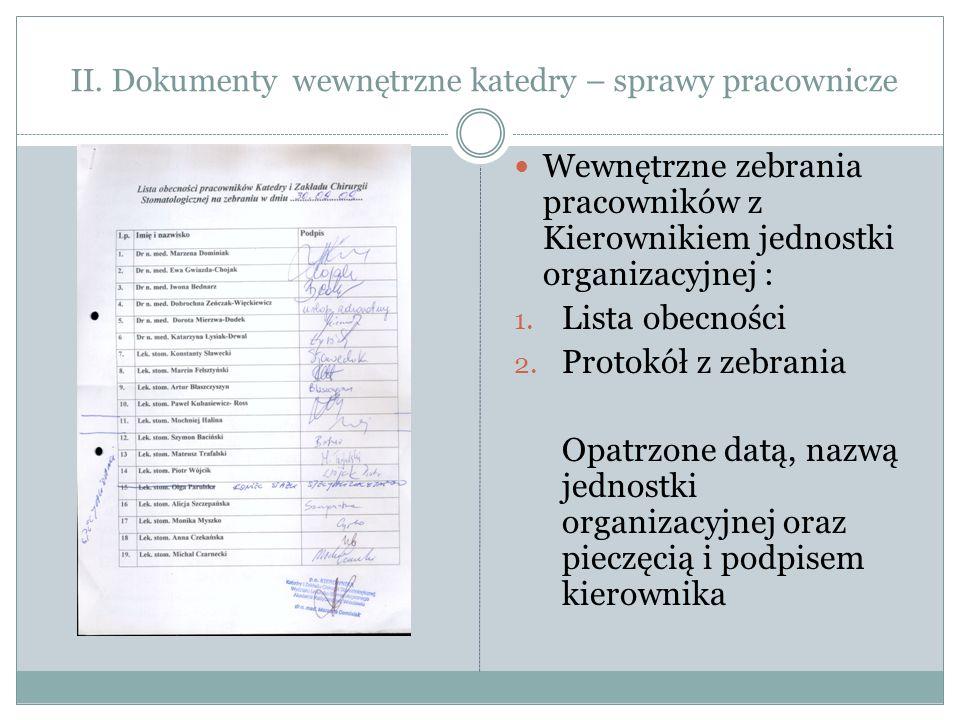 II. Dokumenty wewnętrzne katedry – sprawy pracownicze