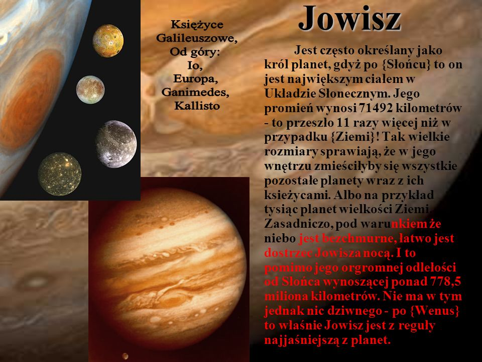 Jowisz Księżyce. Galileuszowe, Od góry: Io, Europa, Ganimedes, Kallisto.