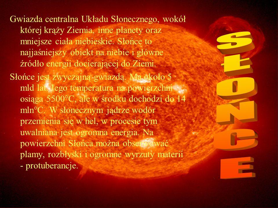 Gwiazda centralna Układu Słonecznego, wokół której krąży Ziemia, inne planety oraz mniejsze ciała niebieskie. Słońce to najjaśniejszy obiekt na niebie i główne źródło energii docierającej do Ziemi.