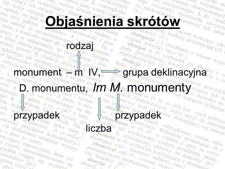 Objaśnienia skrótów rodzaj monument – m IV, grupa deklinacyjna