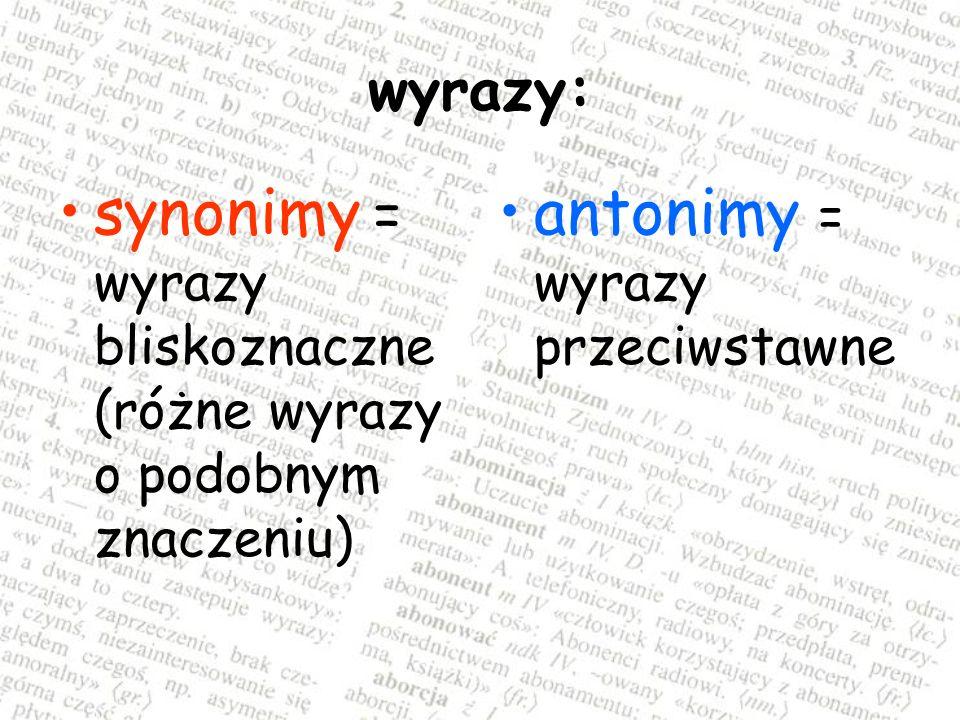 synonimy = wyrazy bliskoznaczne (różne wyrazy o podobnym znaczeniu)