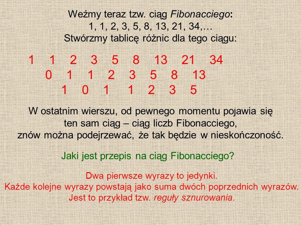 Weźmy teraz tzw. ciąg Fibonacciego: