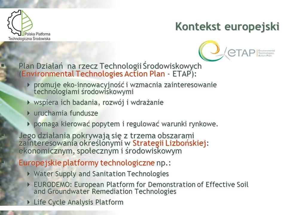 Kontekst europejski Plan Działań na rzecz Technologii Środowiskowych (Environmental Technologies Action Plan - ETAP):