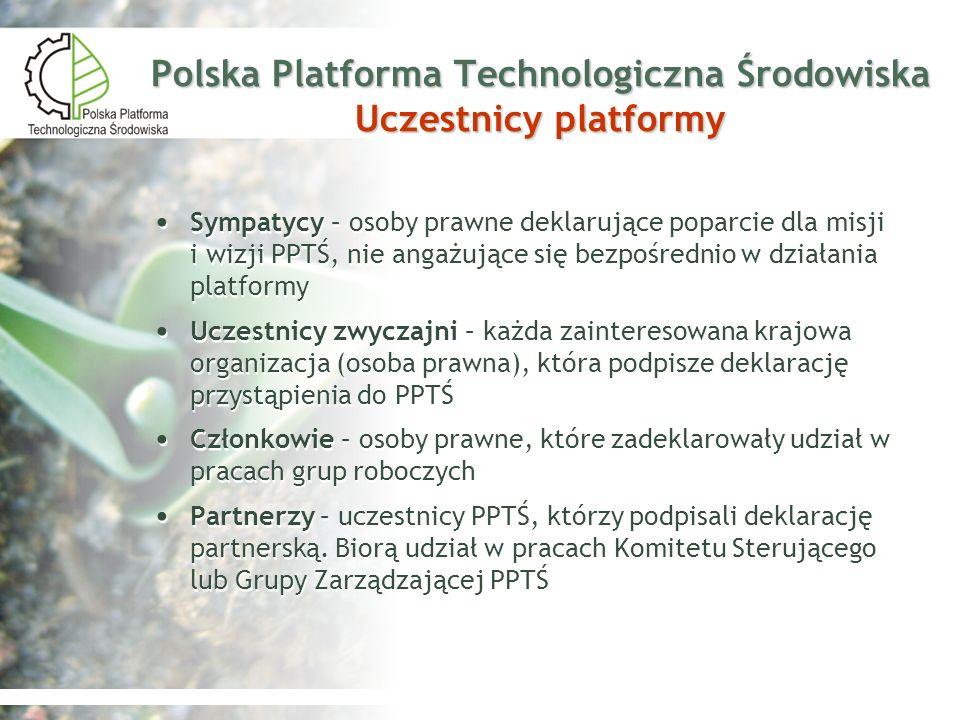 Polska Platforma Technologiczna Środowiska Uczestnicy platformy