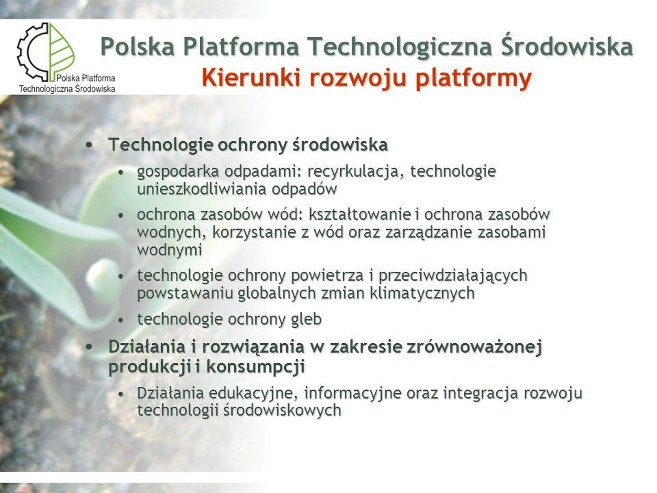 Polska Platforma Technologiczna Środowiska Kierunki rozwoju platformy