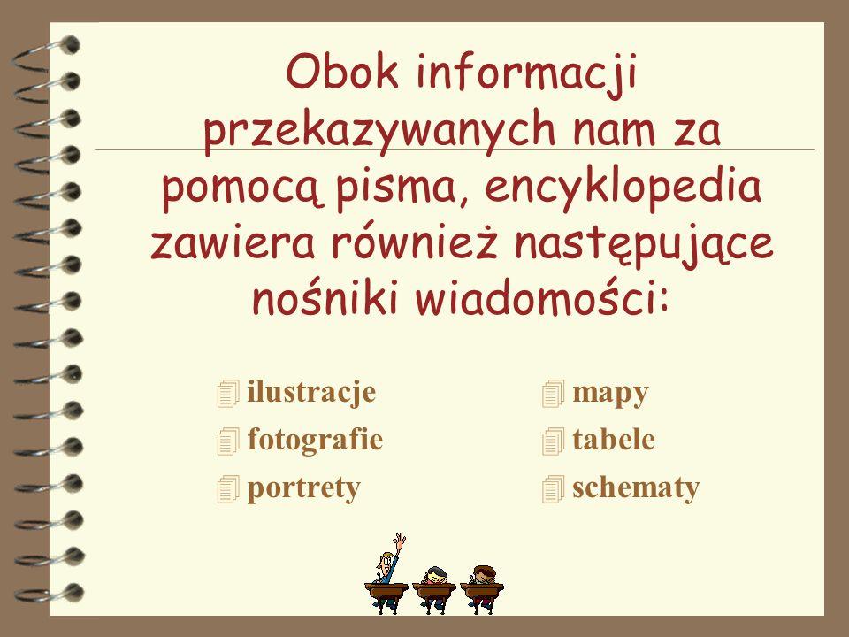 Obok informacji przekazywanych nam za pomocą pisma, encyklopedia zawiera również następujące nośniki wiadomości: