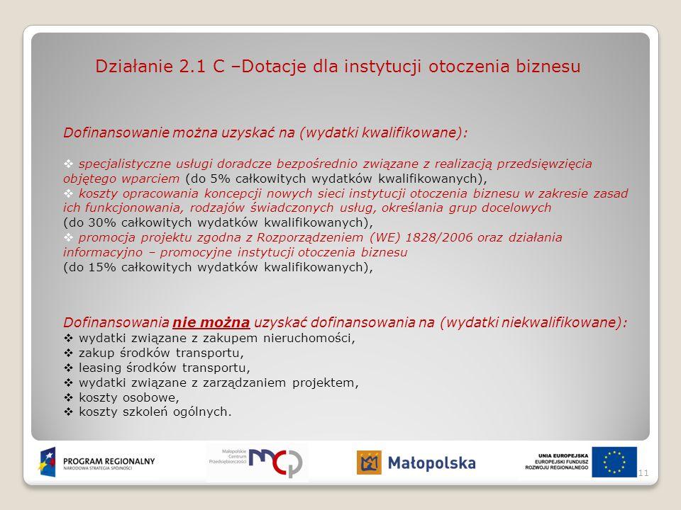 Działanie 2.1 C –Dotacje dla instytucji otoczenia biznesu
