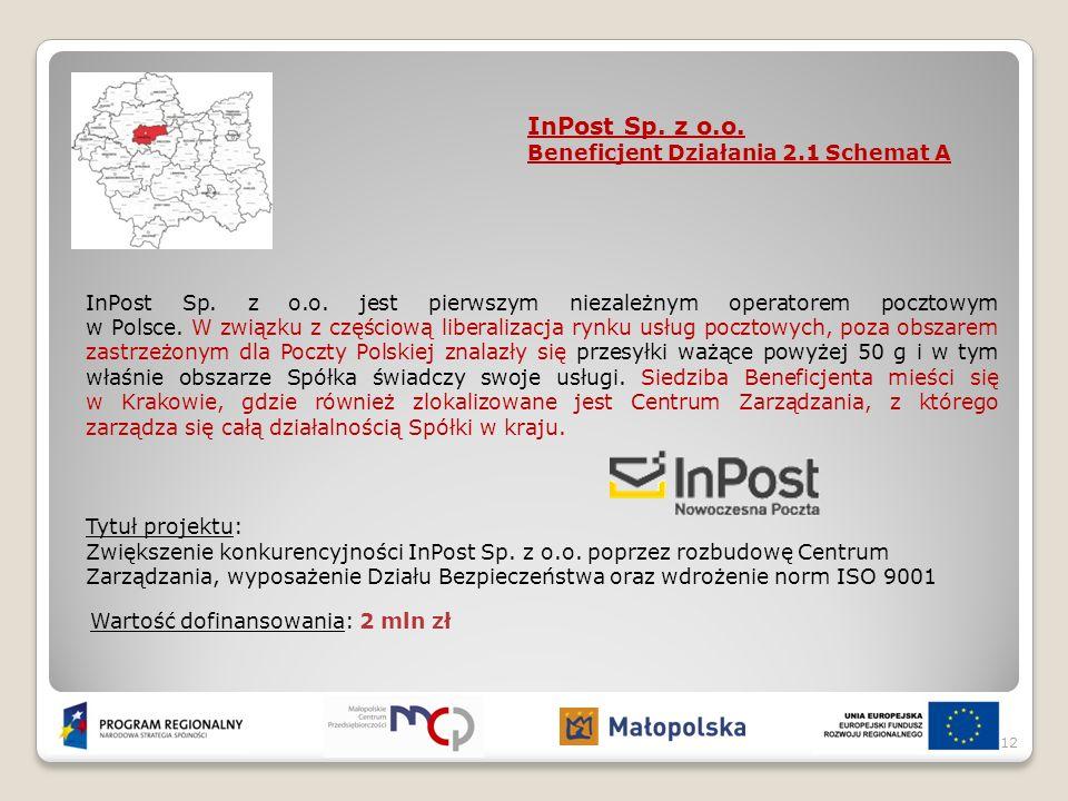 InPost Sp. z o.o. Beneficjent Działania 2.1 Schemat A