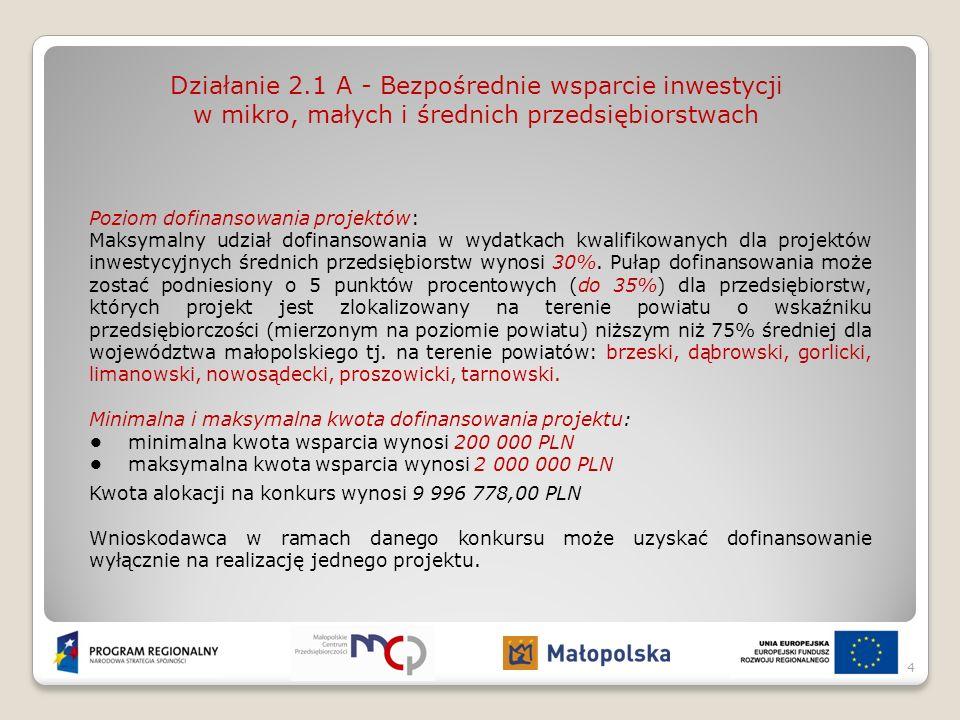 Działanie 2.1 A - Bezpośrednie wsparcie inwestycji w mikro, małych i średnich przedsiębiorstwach