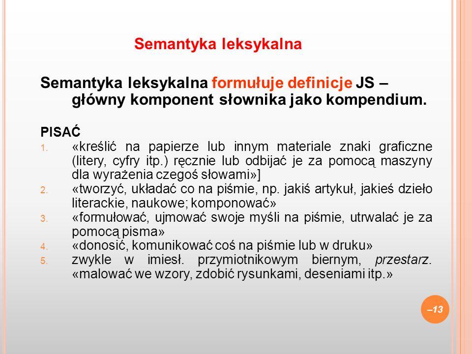 Semantyka leksykalna Semantyka leksykalna formułuje definicje JS – główny komponent słownika jako kompendium.