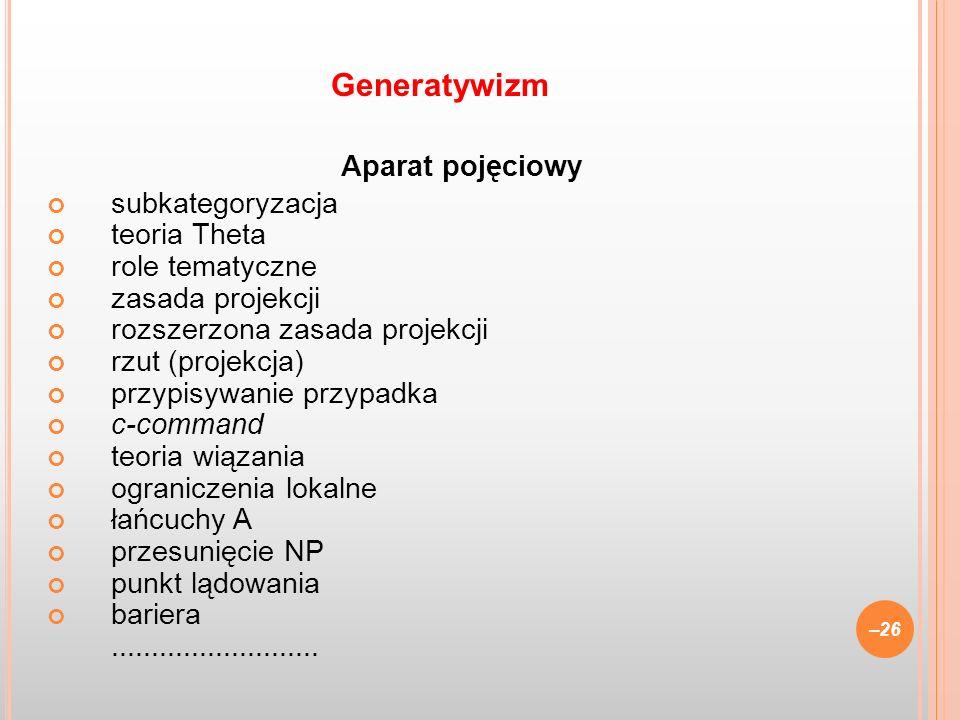 Generatywizm Aparat pojęciowy subkategoryzacja teoria Theta