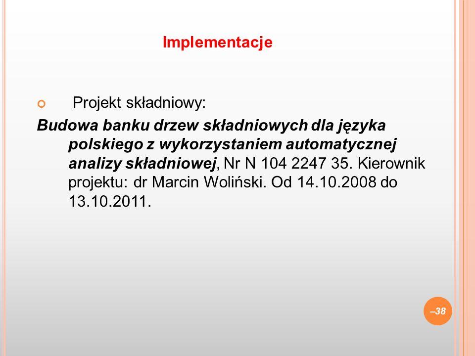 Implementacje Projekt składniowy: