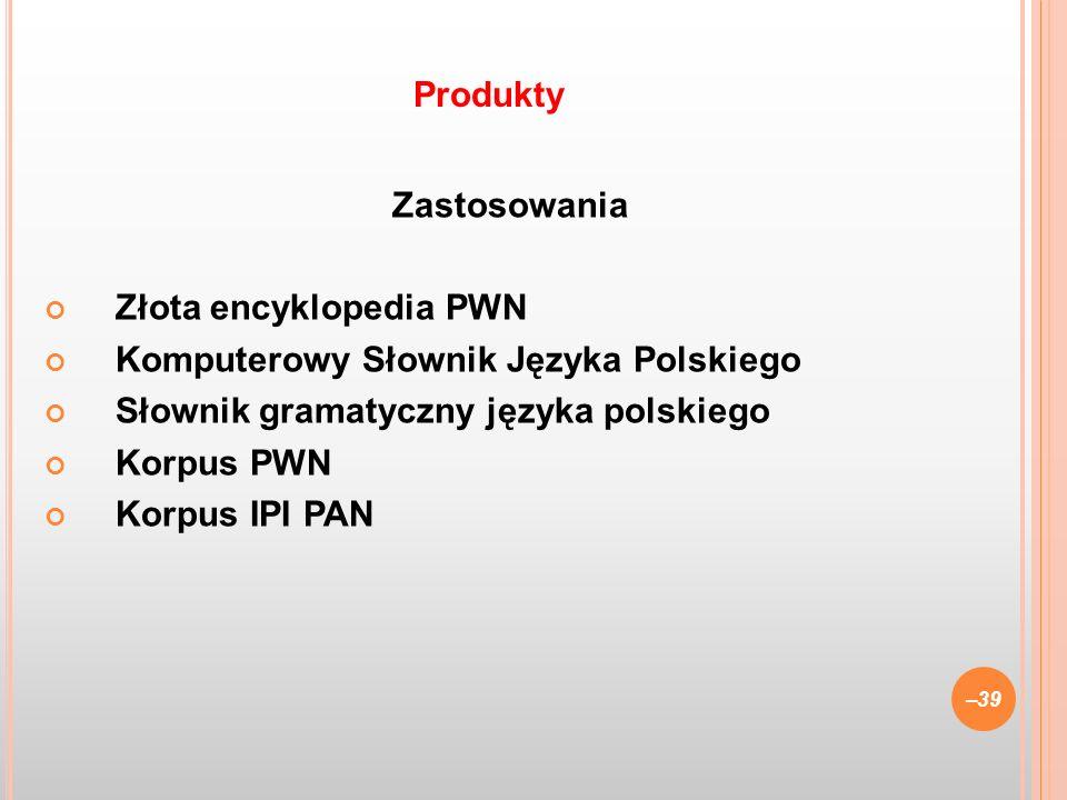 ProduktyZastosowania. Złota encyklopedia PWN. Komputerowy Słownik Języka Polskiego. Słownik gramatyczny języka polskiego.