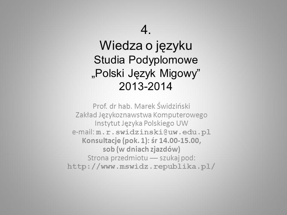 """4. Wiedza o języku Studia Podyplomowe """"Polski Język Migowy 2013-2014"""