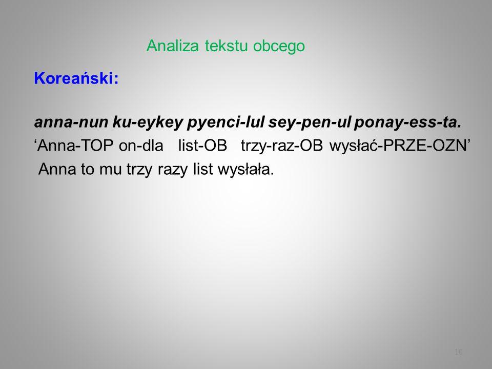 Analiza tekstu obcegoKoreański: anna-nun ku-eykey pyenci-lul sey-pen-ul ponay-ess-ta. 'Anna-TOP on-dla list-OB trzy-raz-OB wysłać-PRZE-OZN'
