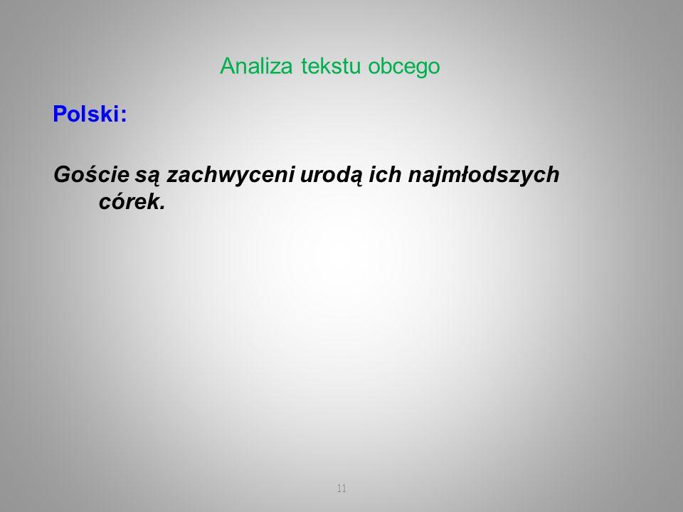 Analiza tekstu obcego Polski: Goście są zachwyceni urodą ich najmłodszych córek.