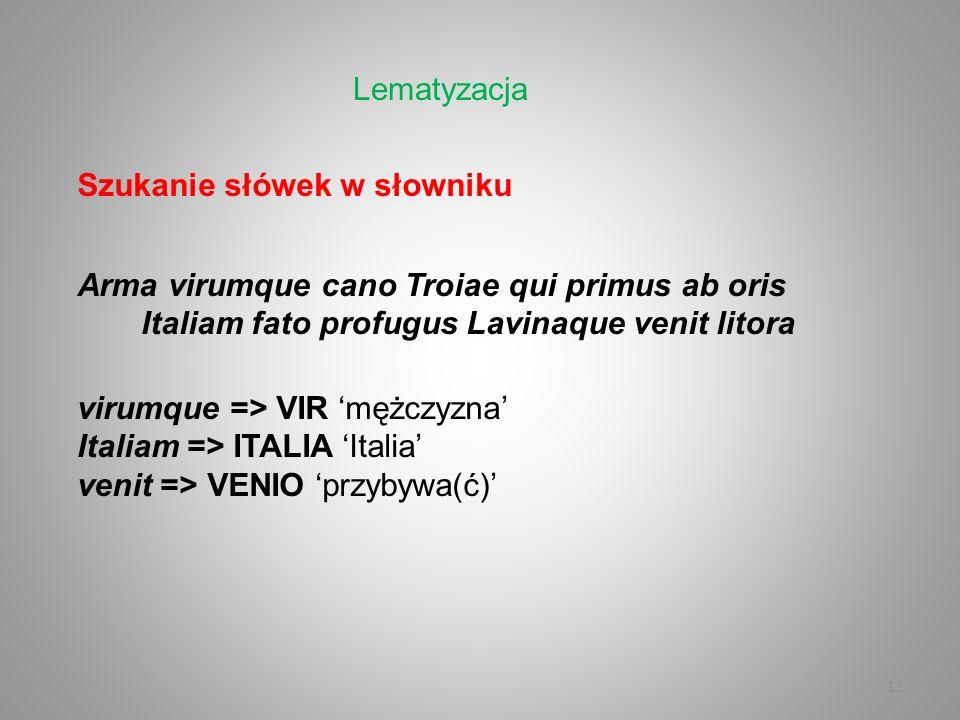 Lematyzacja Szukanie słówek w słowniku. Arma virumque cano Troiae qui primus ab oris Italiam fato profugus Lavinaque venit litora.