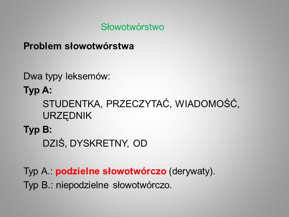 Słowotwórstwo Problem słowotwórstwa. Dwa typy leksemów: Typ A: STUDENTKA, PRZECZYTAĆ, WIADOMOŚĆ, URZĘDNIK.