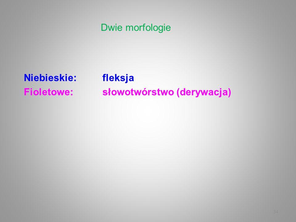 Dwie morfologie Niebieskie: fleksja Fioletowe: słowotwórstwo (derywacja)