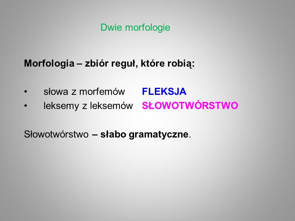 Dwie morfologieMorfologia – zbiór reguł, które robią: słowa z morfemów FLEKSJA. leksemy z leksemów SŁOWOTWÓRSTWO.