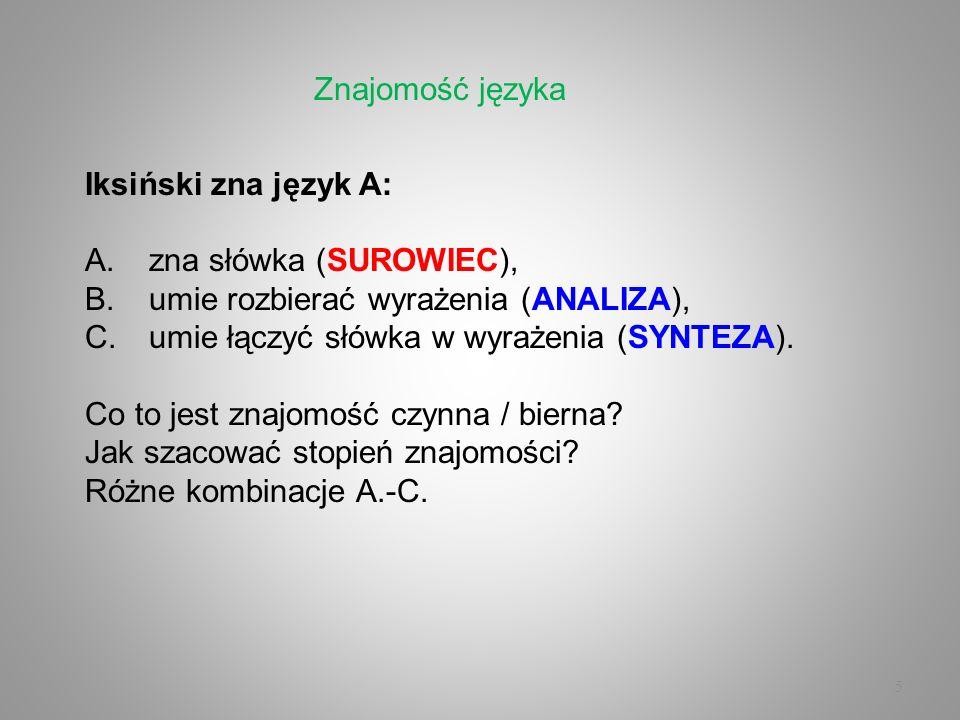 Znajomość językaIksiński zna język A: zna słówka (SUROWIEC), umie rozbierać wyrażenia (ANALIZA), umie łączyć słówka w wyrażenia (SYNTEZA).
