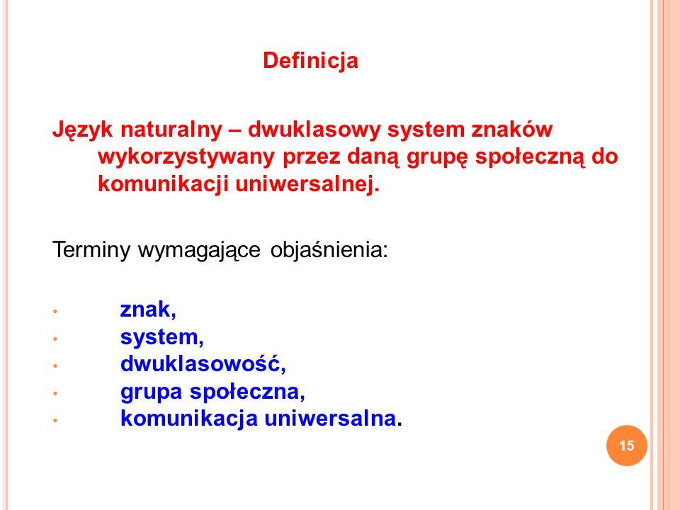 Definicja Język naturalny – dwuklasowy system znaków wykorzystywany przez daną grupę społeczną do komunikacji uniwersalnej.